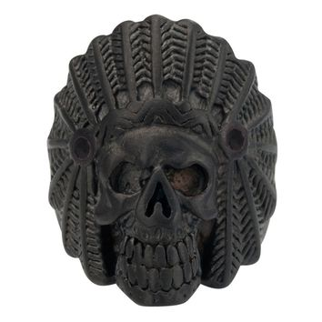 Inox Jewelry 316L Stainless Steel Black IP Indian Chief Skull Ring