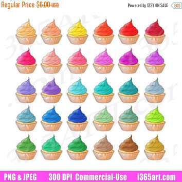 50% OFF Sale Cupcake Clipart, Cupcake Clip Art, Delicious Cupcakes, Frosted Cupcakes, Planner Sticker Graphics, PNG Sweets, Commercial