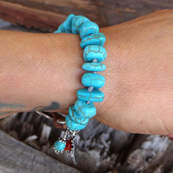 Turquoise Bracelet, Southwestern Jewelry, Native American, Leather Bracelet, Tribal Bracelet, Indian Jewelry, Turquoise Jewelry.*