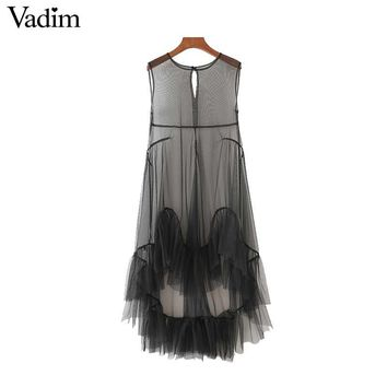 women sexy see through mesh dress hem ruffles sleeveless transparent o neck summer casual dresses