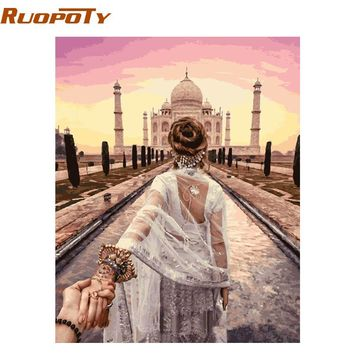 RUOPOTY Frame DIY Painting By Numbers Hand In Hand Romantic Modern Home Wall Art Canvas Painting For Wedding Decor 40x50cm Arts