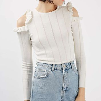 PETITE Frill Cold Shoulder Top | Topshop