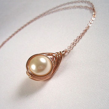 Rose Gold Single Pearl Wired Pendant, Herringbone Cream Pearl Pendant, Ivory Pearl Wire Wrapped Necklace, Wire Wrapped Jewelry Handmade