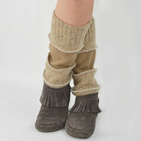 Grunge Leg Warmers in Wheat Beige - Light Brown Tan - Upcycled Wool Sweaters