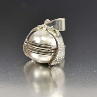 Vintage Sterling Silver Globe Fold Out Photo Locket Pendant