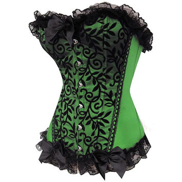 Waist Training Corset Appliques stain corsets Green gothic overbust corselets and bustiers sexy body suit clothing