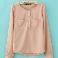 Simple Pocket Round Neck Chiffon Shirt Pink$39.00