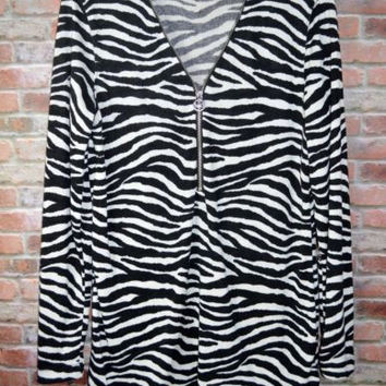 Michael Kors Sz Large Lightweight Sweater 1/2 Zip Black White  Zebra