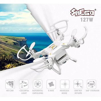 SBEGO 127W Smart Stretch RC Mini Pocket Drone WiFi FPV 2.4GHz 4CH 6-Axis Gyro 0.3MP Camera RTF RC Quadcopter Helicopter Toy