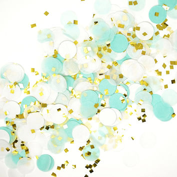 Mint White Gold Metallic Tissue Paper Shredded Circle Confetti Party Decoration