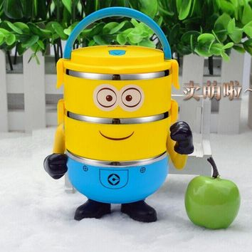 1-4 Layer Cute Cartoon Minion Lunch For Kids With Plastic Tiffin Boxes Thermal Bento For School Students In Tableware