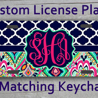 Custom Monogrammed personalized license plate. Lily Pulitzer Crown Jewels Chevron inspired Vanity car tag #1104