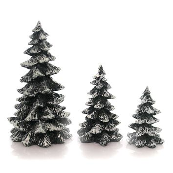 Department 56 Accessory VILLAGE EVERGREEN TREES SET/3 Snow Covered 52051