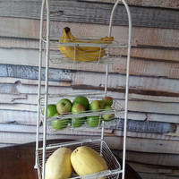 Large 3 Tiered Ivory Metal Fruit Baskets, Shabby Chic Country Rustic Storage, Tall Kitchen Bathroom Organizer, FREE US Shipping