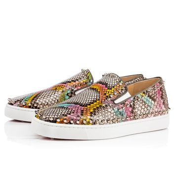 Best Online Sale Christian Louboutin Cl Pik Boat Men's Flat Multi/colombe Metal Python Kaa 17s Sneakers 1170695m195