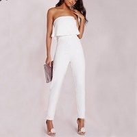 White Sexy women Rompers Elegant Halter Combination Party Bodysuit Casual Office Wear Outfits Long Pants