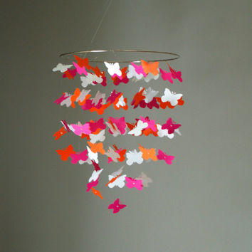 Medium Pink, Orange, and White Butterfly Swarm Chandelier