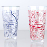 Philadelphia, PA - UPenn - College Town Map Pint Glass Set
