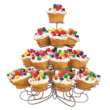 Metal Cupcake Holder Stand, 23 Cupcakes, 4 Tier, 11-inch