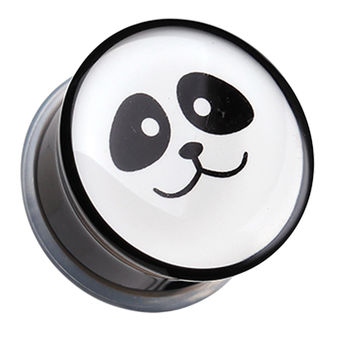 Panda Facial Single Flared Ear Gauge Plug