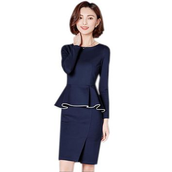 2018 Spring New Fashion Professional Set Women's Dress Vintage Wear To Work Office Business Cocktail Party Bodycon Pencil Dress