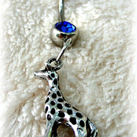 Giraffe Blue Belly Ring, Jungle, Safari, Zoology, Wildlife, Zoo, Out in the Wild, Ready to Ship