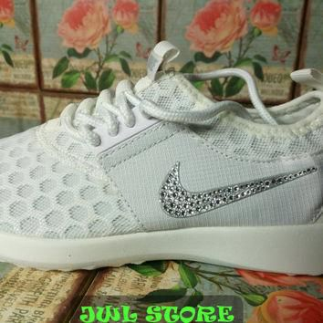 blinged nike roshe run shoes juvenate white color sneakers customized with swarovski c