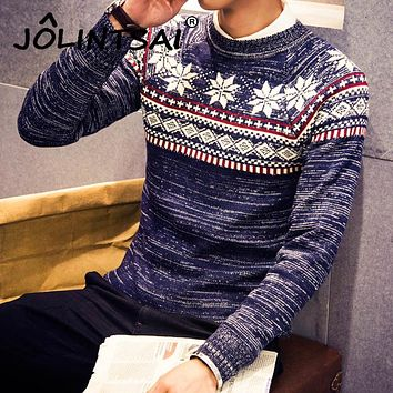 2017 Christmas Sweater New Autumn Fashion Brand Casual Jacquard Male Sweater O-Neck Slim Knitted Men's Sweaters Men Pullovers