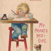 Vintage VALENTINE Embossed Postcard, Unused, Ellen CLAPSADDLE Signed, Boy, Dog, Desk, Ink, Valentine's Day, 1900s, IAP Co. Series No. 831
