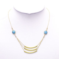 Triple Turquoise Bar Necklace | VidaKush