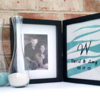Double Hinged Sand Ceremony Frame with FREE Personalization, Unity Frame, Custom Wedding Decor Set