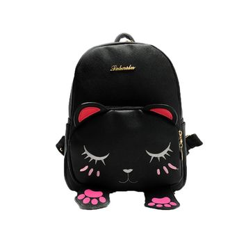 Xiniu Cat backpacks for teenage girls Students leather School Bag woman backpack 2017 Travel Backpack Bag Rucksack #7M