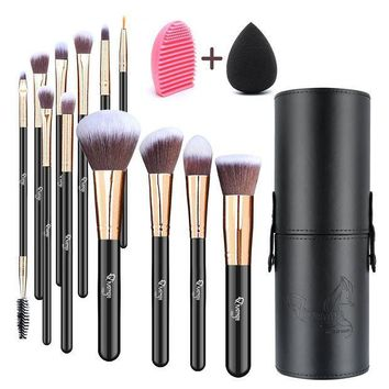 CREYXT3 Qivange Makeup Brushes, Professional Foundation Powder Contour Lip Eyeshadow Blending Brushes Set with Brush Holder+ Makeup Sponge & Brush Cleaner(Black with Rose Gold, 12pcs)