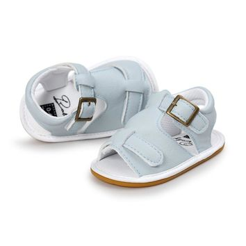 Baby Boys Girls Sandals Toddler Slip-On Shoes Summer Baby PU Leather Sandals 0-18Months