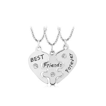Best Friends BFF Heart Necklace Set for 3