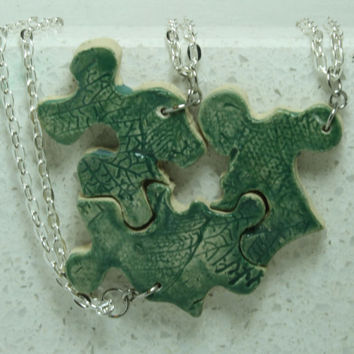 Puzzle Piece Interlocking Necklaces leaf Friendship pendants set of 3 Piece Aromatherapy pendant set