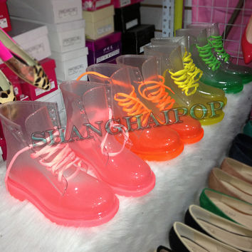 See-through Ladies Transparent Rain Boots Neon Lace Up Jelly Crystal Color Clear