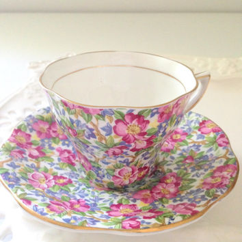English Rosina Bone China Chintz Pattern Tea Cup & Saucer Tea Party