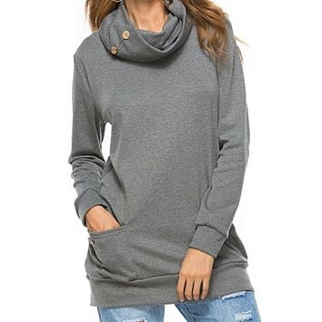 Autumn Women Hoodies Sweatshirts Pullover Long Sleeve Button Cowl Neck Casual Slim Tunic Tops With Pockets Female
