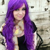 SHOP-WIDE SALE Grape Jelly / Purple / Long Curly Layered Wig Mermaid Hair Lolita Natural Scalp Piece