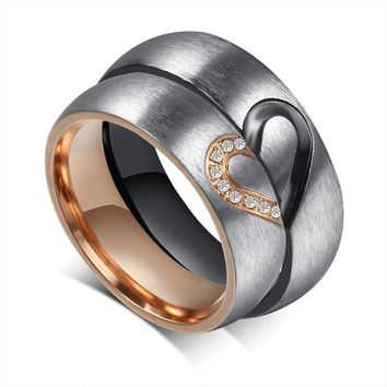 LIN STUDIO His And Her Love Puzzle Heart Stainless Steel Wedding Band Promise Rings Set For Couples Valentines Ring CR-051