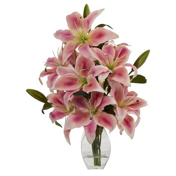 Artificial Flowers -Rubrum Lily Pink Arrangement in Decorative Vase