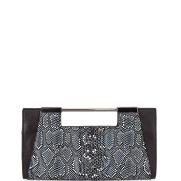 Mosaic Python-Embossed Leather Clutch Bag, Black Multi - Halston Heritage