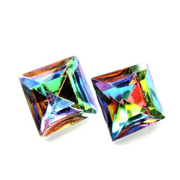 Very Rare Rainbow Vintage Swarovski Crystal Earrings