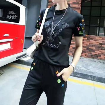 louis vuitton women casual multicolor embroidery sequin letter short sleeve trousers set two piece sportswear
