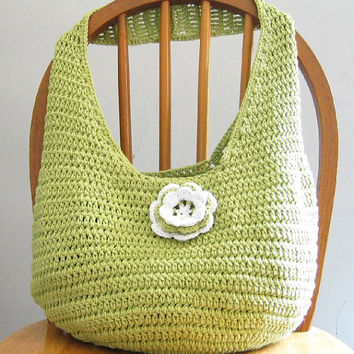 Crochet Market Bag, Reusable Tote, Celery Green Beach Bag, Handmade Grocery Bag, Eco Friendly Shopping Bag