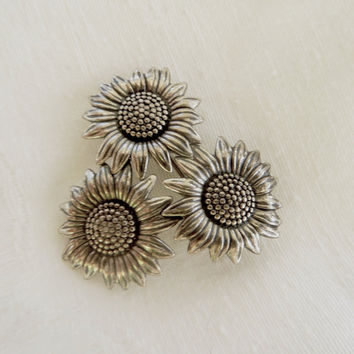 Sterling Sunflower Brooch, Vintage Sunflower Pin, Sun flower Jewelry, Fall Flower