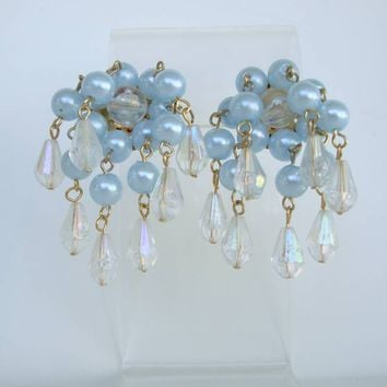 Blue Pearls Cluster Post Earrings Lightweight Plastic AB Crystals Vintage Jewelry