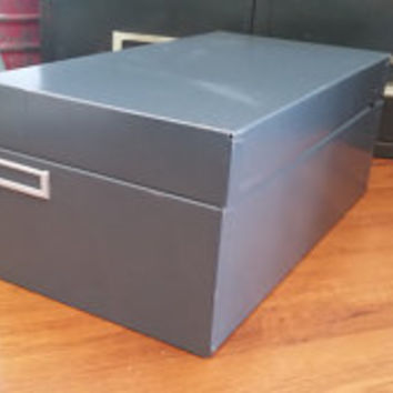 Vintage Grey Metal Industrial Labeled File Box Perfect for Organizing Mail Recipes Paper Receipts Office Decor Storage Upcycle