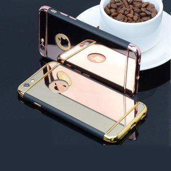 Mirror Electroplating TPU+Plastic Hybrid phone cases for iphone6 6s 6Plus